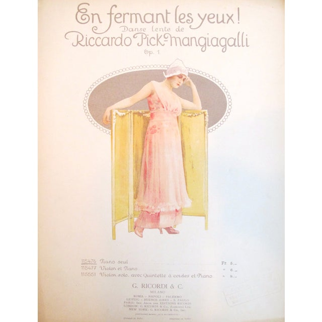 Image of 1910 Italian Music Sheet en Fermant Les Yeux