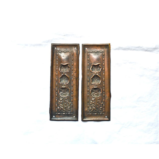 1910 Art Nouveau Copper Lotus Door Push Plates - Image 7 of 9