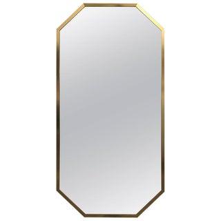 Mid-Century Modern Decorative Brass Framed Octagon Shaped Mirror