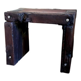 Japanese Yakisugi Wood Parsons Bench Stool Side Table 20""