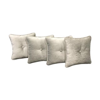 Square Pillows With Center Button - Set of 4
