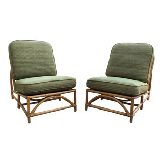 Vintage Ficks Reed Bamboo Lounge Chairs - A Pair