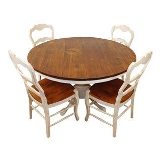 Rustic Pine & White Round Kitchen Dining Set