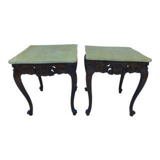 French Wood & Marble Side Tables - A Pair