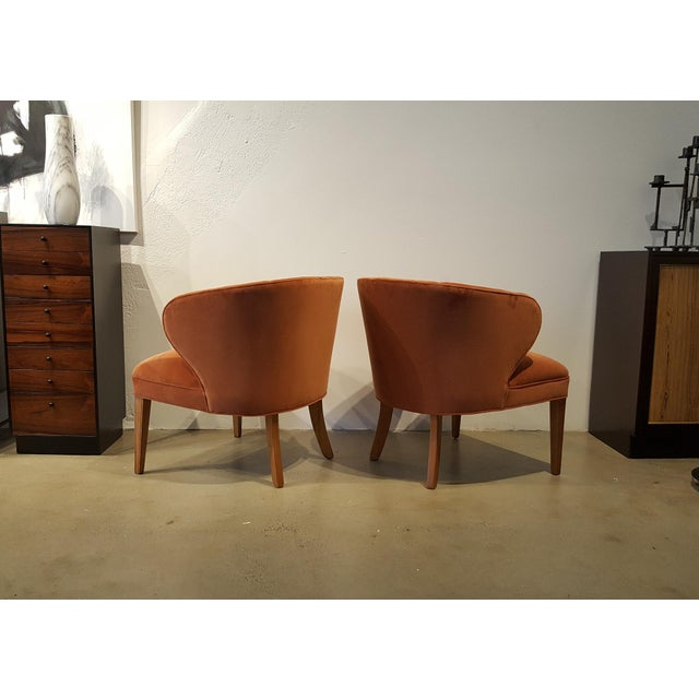 1960s Apricot Velvet Scandinavian Armchairs - A Pair - Image 5 of 6