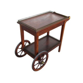 Vintage Mid-Century Teak and Brass Tea Cart