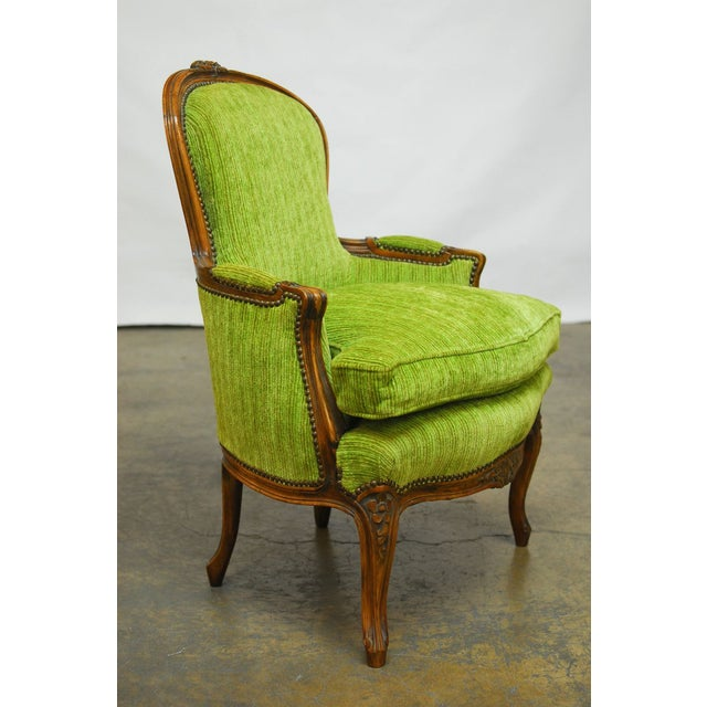 Louis XV Carved Chartreuse Velvet Bergeres - Pair - Image 2 of 8