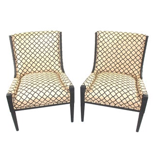 Burlap Mid Century Club Chairs - Pair