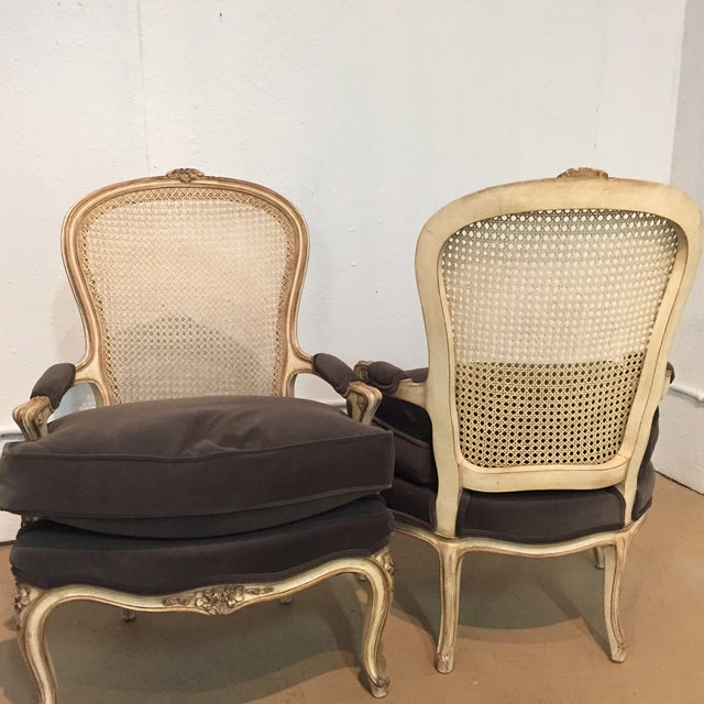 Vintage French Bergere Chairs - A Pair - Image 5 of 7