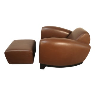 Art Deco Leather Chairs With Ottoman - Pair