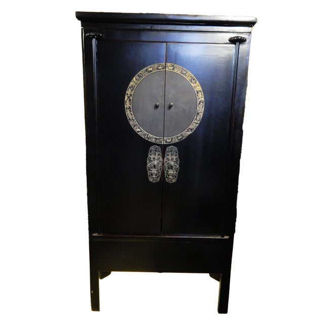 Black Lacquer Corner Armoire - Image 6 of 10