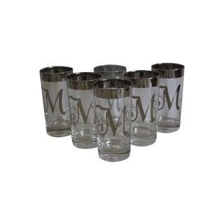 "Monogram ""M"" Silver Rim Glasses - Set of 6"