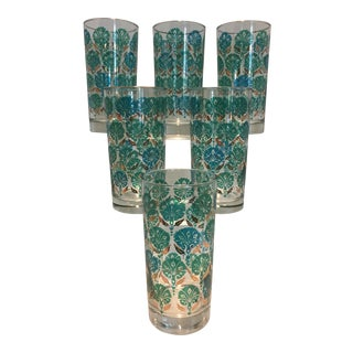 Set of 6 Vintage Teal Blue Green and Gold Floral Highball Tumbker Glasses