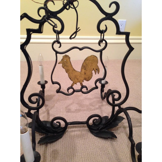 French Antique Rooster Sign Chandelier - Image 3 of 5