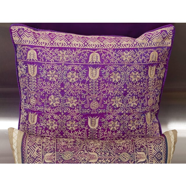 Luxury Purple Silk Emroidered Decorative Pillow Chairish