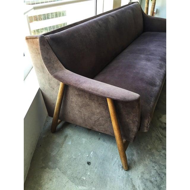Mid-Century Modern Brown Velvet Sofa Bed - Image 6 of 6