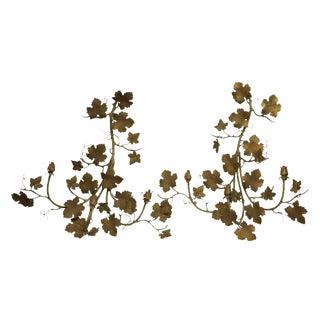 Metal Decorative Leafy Candle Sconces - A Pair