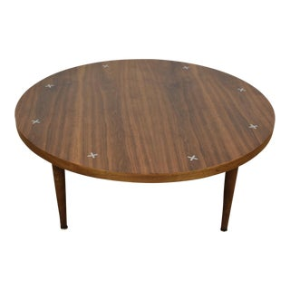 American of Martinsville Walnut Round Coffee Table