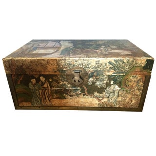 19th-C. Chinese Pigskin Travel Trunk