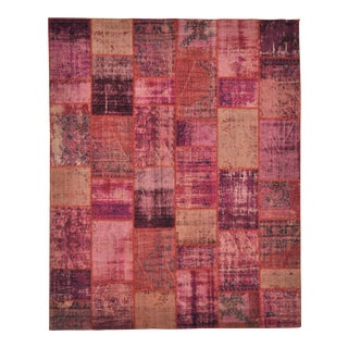 Purple Pink Over-Dyed Turkish Distressed Patchwork Area Rug - 8' X 10'