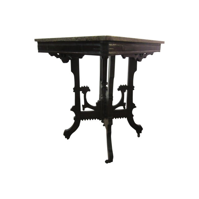 Antique Marble Side Table Reading: Antique Victorian Marble Top Side/Lamp Table