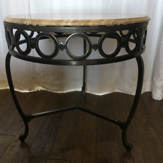 Wrought Iron & Marble End Table - Image 2 of 5