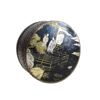 Chinese Black Lacquer Scenery Round Box