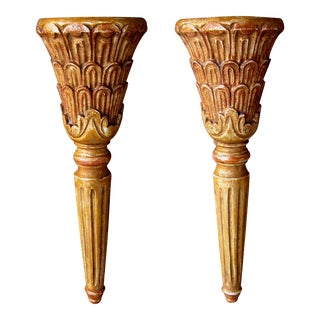 A Handsome Pair of Italian Neoclassical Style Carved Wall Sconces