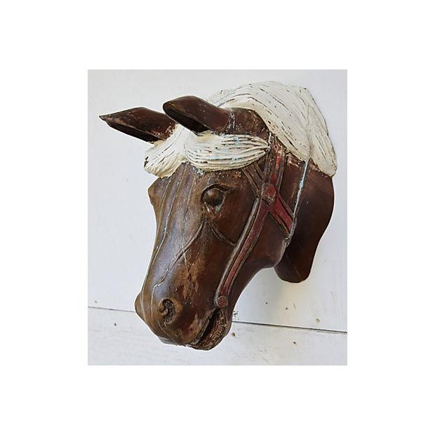 1940s Hand-Carved Carousel Horse Head - Wall Mounted - Image 5 of 11