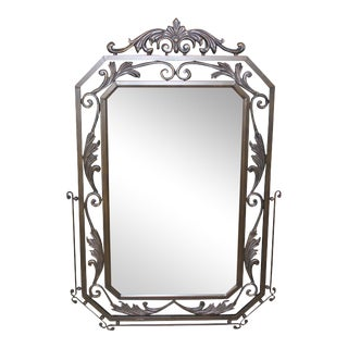 French Art Deco Solid Iron Wall Mirror