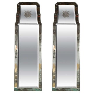 "Decoratived Etched ""Charleston"" Mirrors - Pair"