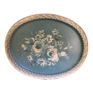 Vintage Blue & White Hand Painted Tole Tray