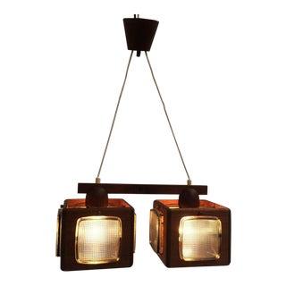 Cubic Vitrika Pendant Teak, Brass and Orrefors Glass, 1960s