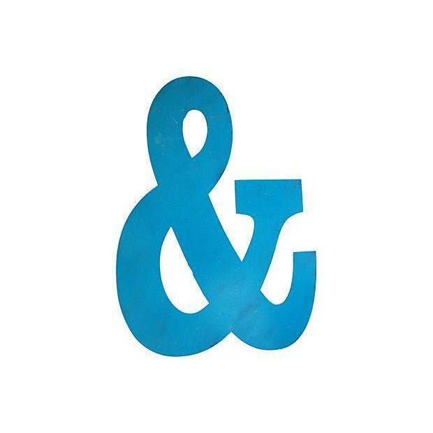 Image of Large Blue Metal Marquee Ampersand