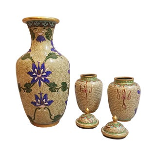 Vintage Cloisonné Vase and Jars - Set of 3