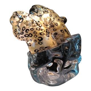 Pino Signoretto Murano Leopard Bust Sculpture