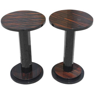 Pair of French Art Deco Exotic Macassar Ebony Side Tables, circa 1940s
