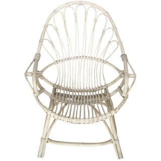 Distressed White Rattan Chair