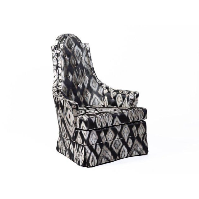 Pair of Hollywood Regency Lounge Chairs in Graphic Ikat Silk - Image 2 of 9