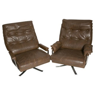 Arne Norell Leather Club Chairs - Set of 2
