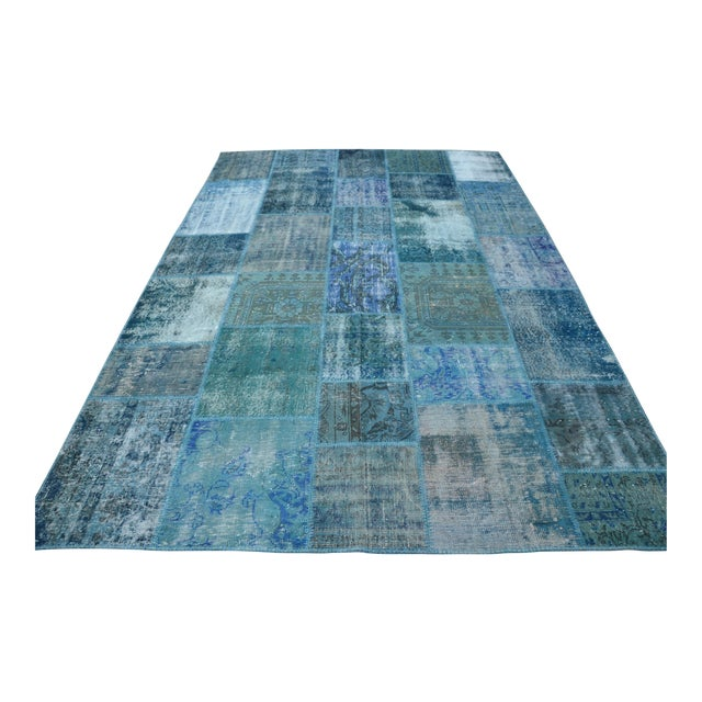 Blue Turkish Patchwork Rug - 6′10″ × 9′10″ - Image 1 of 6
