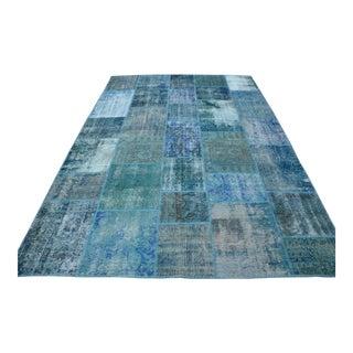Blue Turkish Patchwork Rug - 6′10″ × 9′10″