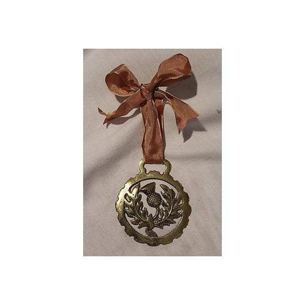 Antique English Horse Brass Thistle Ornament - Image 2 of 3