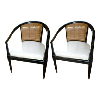 Black Lacquered Cane Chairs - A Pair