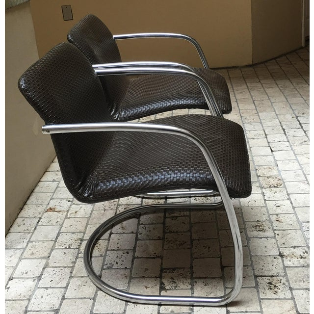 Mid Century Chrome Basket Weave Chair - Pair - Image 6 of 8