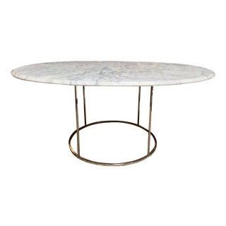 Carrera Marble & Chrome Oval Cocktail Table