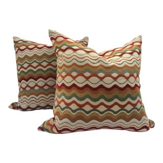 Mid-Century Missoni Style Patterned Pillows - A Pair