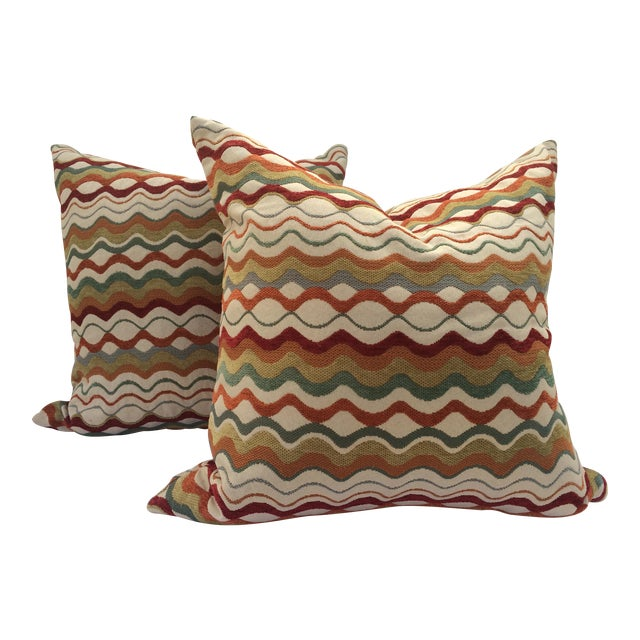 Mid-Century Missoni Style Patterned Pillows - A Pair Chairish