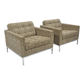 Florence Knoll Tuxedo Lounge Chair, Pair