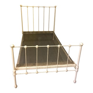 1904 Antique Victorian Brass & Iron White Bed